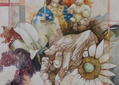 Mani si intrecciano fra loro nel pregare la Madonna di Bonaria con il Rosario e nel portare omaggi (fiori). E Lei osserva tutto dall'alto.
