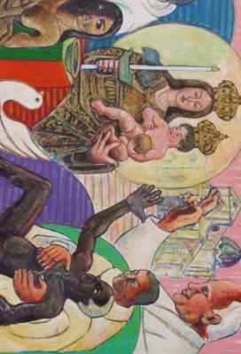 A sinistra la Madonna di Bonaria circondata da un'aura di luce, ai lati i frati Mercedari, sui custodi, operanti la redenzione degli schiavi. La gloria della Madonna di Bonaria è riconosciuta anche dal Papa (a destra), che osserva benedice