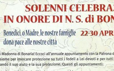 Programma festa Nostra Signora di Bonaria 24 Aprile