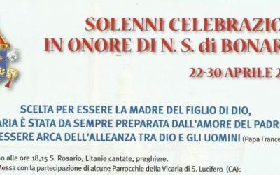 Programma festa Nostra Signora di Bonaria 24 Aprile 2016